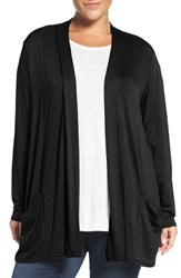 Sejour Plus Size Women's Slub Knit Open Front Cardigan
