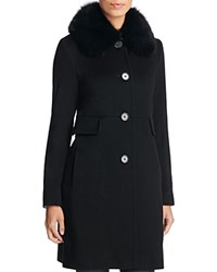 Maximilian Furs X Trilogy Fox Fur Collar Wool Coat Black