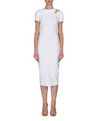 Victoria Beckham Slit Shoulder Short Sleeve Sheath Dress White