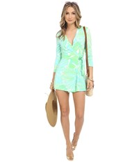 Lilly Pulitzer Karlie Wrap Romper Green Sheen Fronds Place Women's Jumpsuit And Rompers One Piece