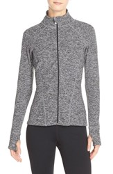 Women's Beyond Yoga Peplum Back Jacket Black White