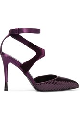 Tom Ford Sequined Satin And Velvet Pumps Dark Purple