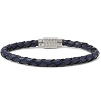 Polo Ralph Lauren Woven Leather Bracelet Navy