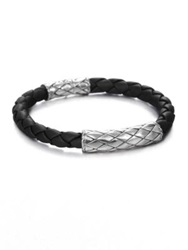 John Hardy Woven Leather Bracelet Sterling Silver Leather