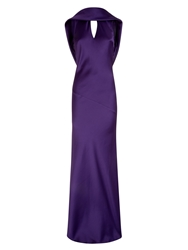 Hotsquash Long Dress With Cowl Back And Front Purple