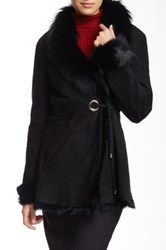 Goat And Genuine Dyed Silver Fox Shawl Collar Coat