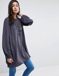 B.Young Long Sleeve Tunic With Lace Insert Asphalt Black