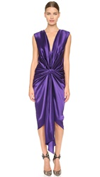 Monique Lhuillier V Neck Draped Dress Deep Violet