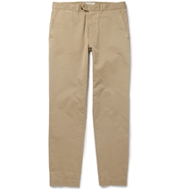 Officine Generale Slim Fit Brushed Cotton Trousers Neutrals