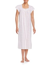 Eileen West Lace Trimmed Floral Print Cotton Nightgown Pink