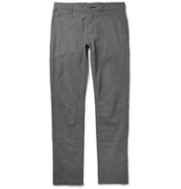Nn.07 Slim Fit Herringbone Cotton Blend Trousers Gray