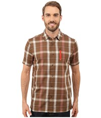 Icebreaker Compass Ii Short Sleeve Shirt Plaid Tobacco Molten Men's Clothing Brown