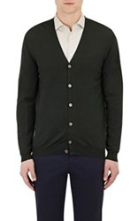 Zanone Men's V Neck Cardigan Dark Green