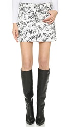 Versus Graffiti Miniskirt White Black