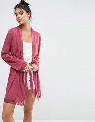 Asos Lace Trim Long Sleeve Robe Red