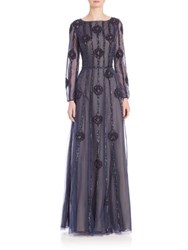 Basix Black Label Long Sleeve Beaded Gown Navy