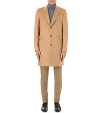 Paul Smith Single Breasted Wool Blend Coat Camel