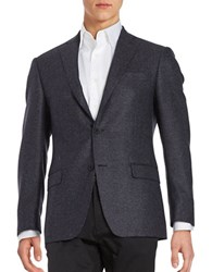 Michael Kors Textured Two Button Wool Jacket Blue