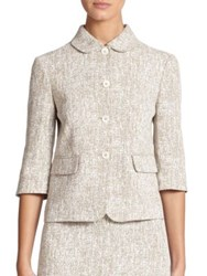 Michael Kors Crosshatch Print Linen Cropped Jacket Hemp White