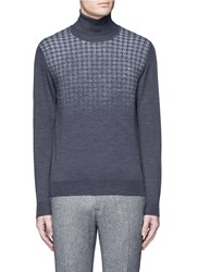 Canali Houndstooth Merino Wool Turtleneck Sweater Grey