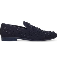 Jimmy Choo Sloane Mixed Star Canvas Slippers Navy