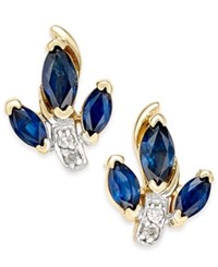 Macy's Sapphire 1 Ct. T.W. And Diamond Accent Stud Earrings In 14K Gold Yellow Gold