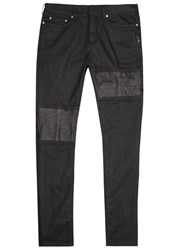 Neil Barrett Black Leather Panelled Skinny Jeans