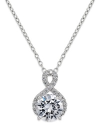 Macy's Cubic Zirconia Infinity Pendant Necklace In Sterling Silver