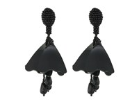 Oscar De La Renta Mini Impatiens Flower Drop C Earrings Black