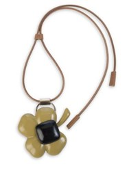 Marni Resin Horn And Leather Clover Pendant Necklace