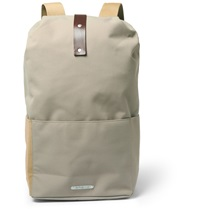 Brooks England Dalston Medium Utility Leather Trimmed Canvas Backpack Gray