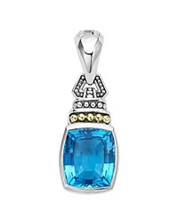 Lagos 18K Yellow Gold And Sterling Silver Caviar Color Pendant With Swiss Blue Topaz Blue Silver