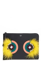 Fendi 'Dolce Monster' Calfskin Leather Genuine Snakeskin And Genuine Fox Fur Zip Pouch
