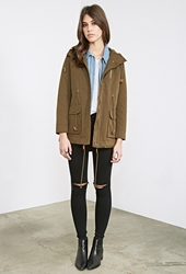 Forever 21 Hooded Canvas Utility Jacket