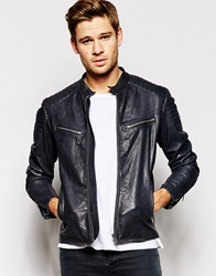 Replay Leather Biker Jacket With Zip Detail Navy