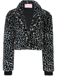Giamba Animal Print Cropped Jacket Black