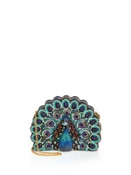 Judith Leiber Swarovski Crystal And Sodalite Peacock Clutch