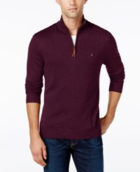 Tommy Hilfiger Signature Solid Quarter Zip Sweater Tawny Port