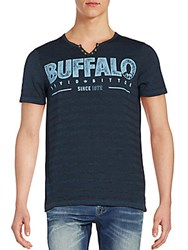 Buffalo David Bitton Logo Henley Tee Blue