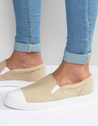 Asos Slip On Plimsolls In Stone Warm Felt With Toe Cap Taupe