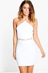Boohoo Lace Waist Detail Bodycon Dress Ivory