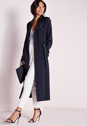 Missguided Tall Exclusive Military Trench Coat Navy Grey