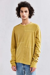 Urban Outfitters Uo Anson Thermal Blocked Long Sleeve Tee Mustard