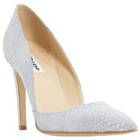 Dune Alia High Stiletto Heel Court Shoes Grey Leather Reptile