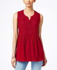 Styleandco. Style And Co. Empire Waist Split Neck Top Only At Macy's New Red Amore