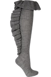 Red Valentino Ruffle Trimmed Wool Socks Gray
