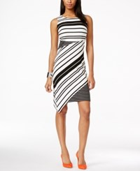 Inc International Concepts Striped Sleeveless Asymmetrical Hem Dress Only At Macy's Black White