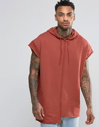 Asos Short Sleeve Longline Oversize Hoodie With Raw Edges Flame Red
