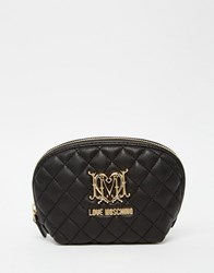 Love Moschino Quilted Cosmetic Bag Black