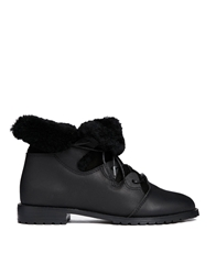 F Troupe Black Sheepskin Trim Leather Boots